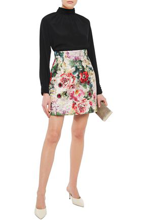 Dolce & Gabbana Embellished Metallic Cotton-blend Brocade Mini Skirt In Multicolor