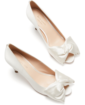 Kate Spade Crawford Peep-toe Bow Pumps In Ivory