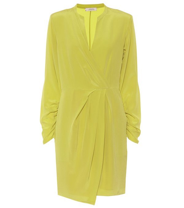 Dorothee Schumacher Fluid Volumes Silk Minidress In Yellow