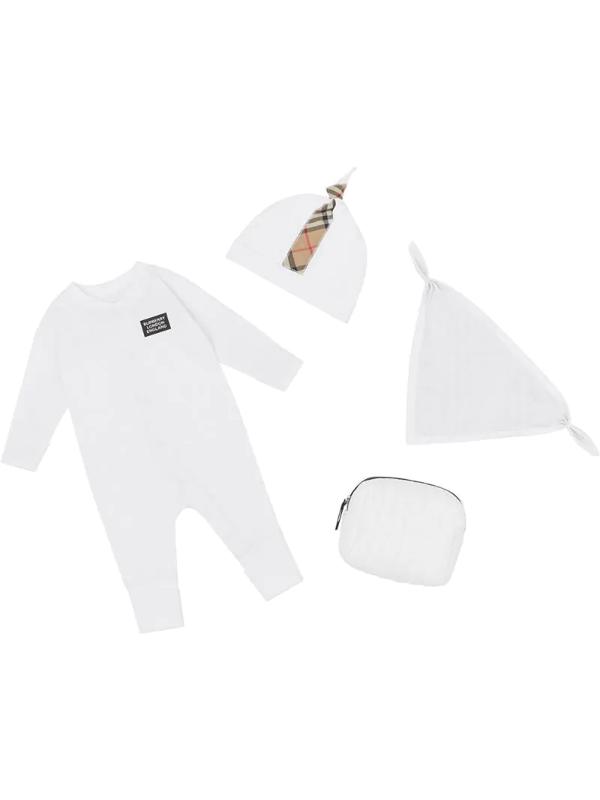 Burberry Babies' Check Trim Three-piece Set In White