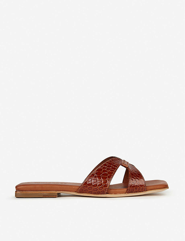 Whistles Tabitha Croc-embossed Leather Sliders In Tan
