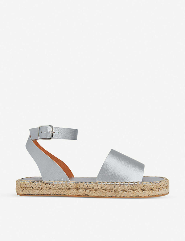 Whistles Lula Metallic Leather Espadrille Sandals In Silver