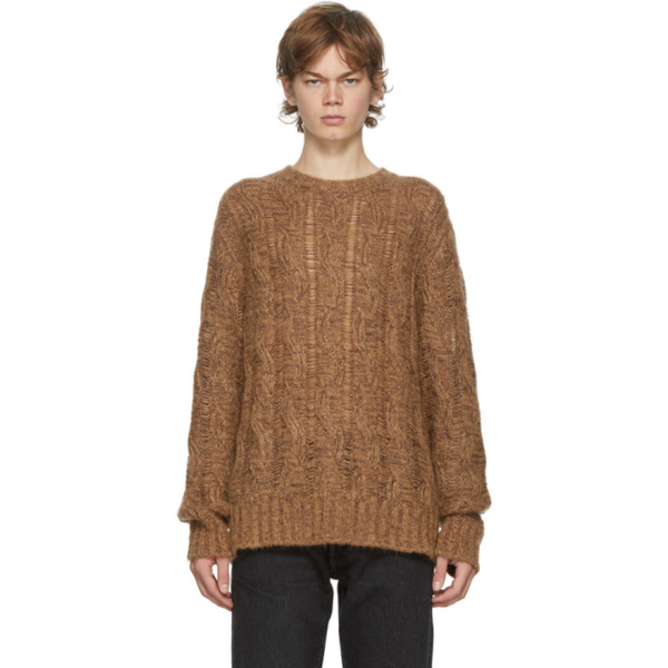 Acne Studios Melange Cable-knit Sweater Brown/burgundy