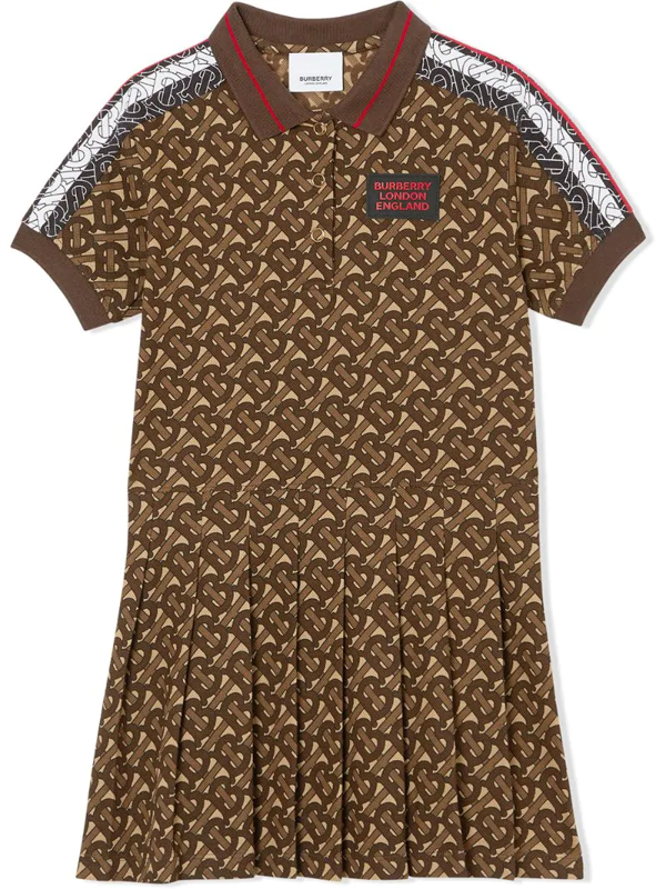 Burberry Kids' Bridle Pleated Polo Dress In Brown