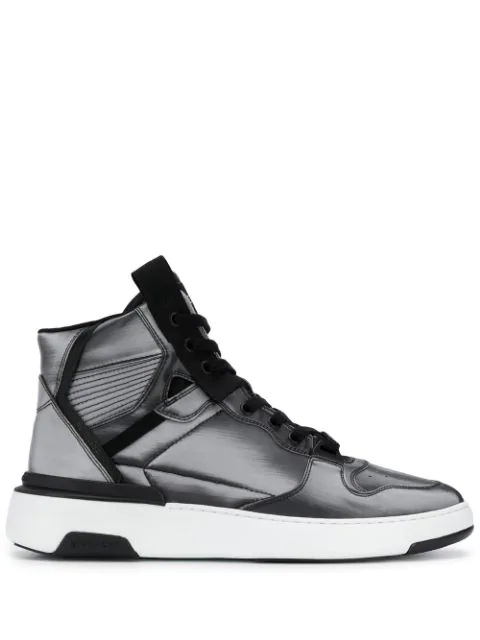 Givenchy Silver-tone Hi-top Sneakers In Grey