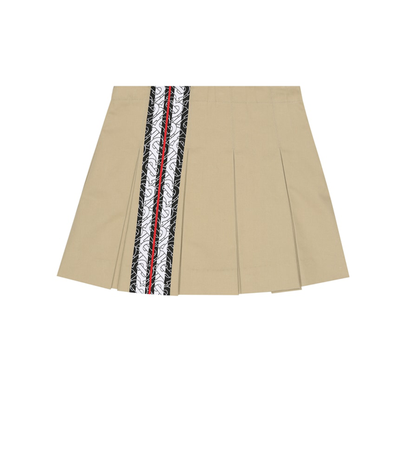 Burberry Kids' Monogram Stripe Cotton Skirt In Beige
