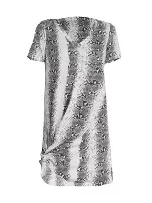 N:philanthropy Leonardo Twist-hem Snakeskin T-shirt Dress In Neo Mint Snake