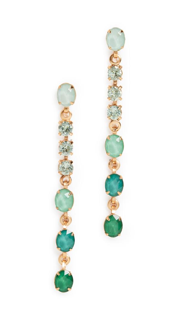 Elizabeth Cole Jamie Ombré Linear Earrings In Green