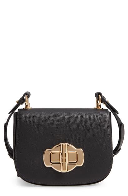 Prada Pattina Saddle Leather Crossbody Bag In Black