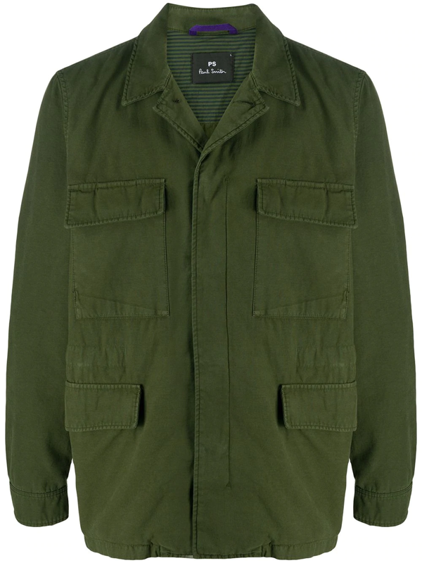 Ps By Paul Smith Concealed-fastening Military Jacket In Green