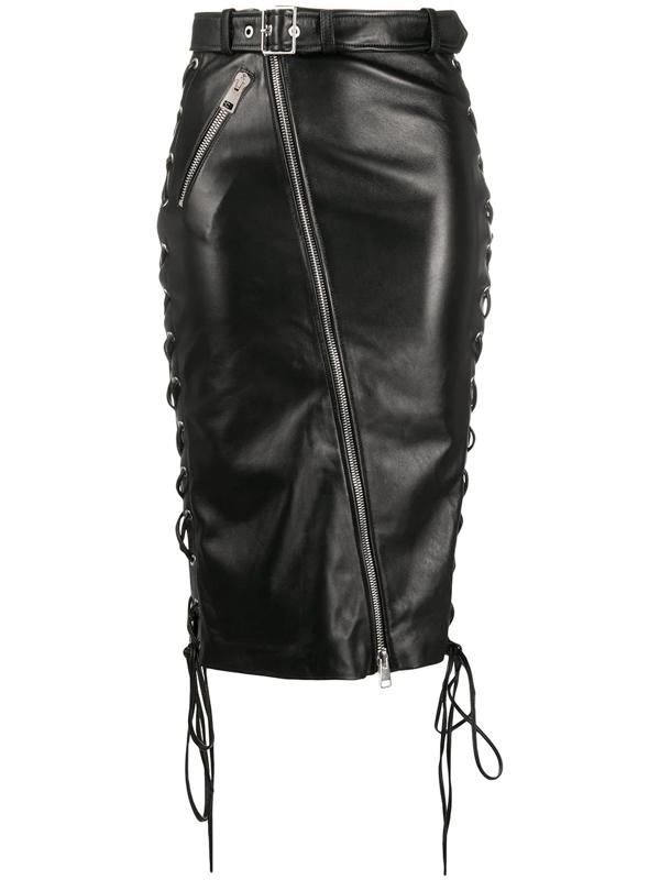 Manokhi Celine Side Tie Detail Skirt In Black