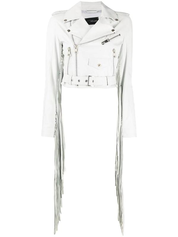 Manokhi Cropped Fringe Detail Jacket In White