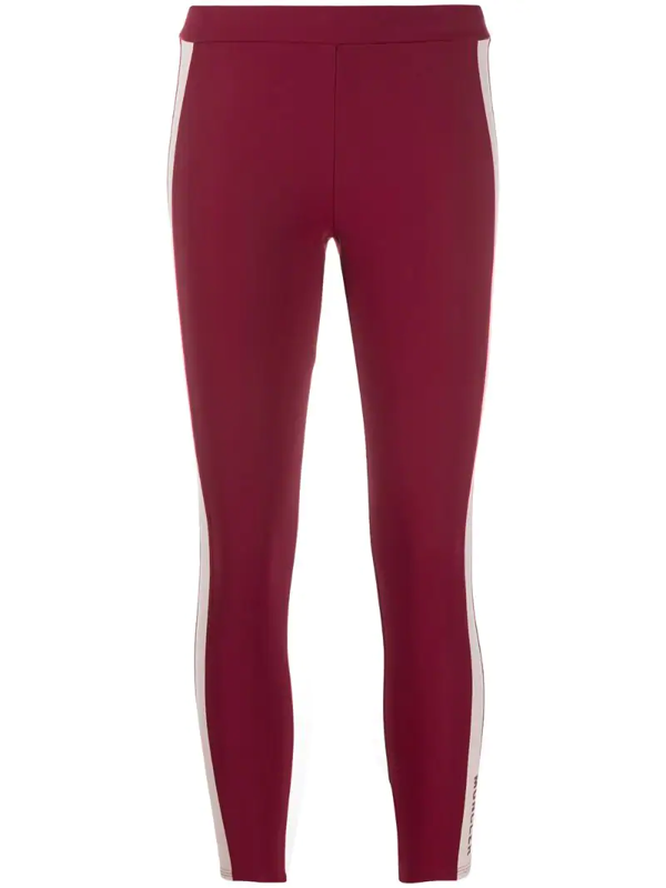 Moncler Side-stripe Performance Leggings In Red