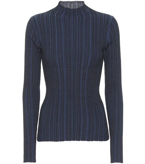 Acne Studios Mock Neck Ribbed Sweater Midnight Blue