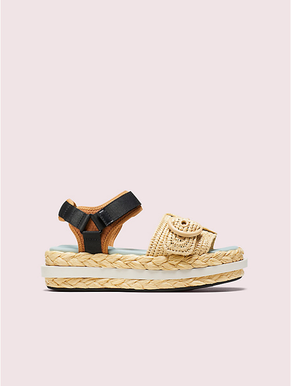 Kate Spade Acapulco Raffia Flatform Sandals In Warm Gingerbread/natural