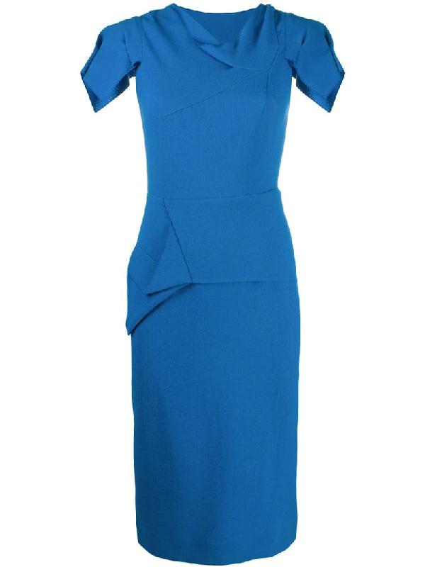 Roland Mouret Vernon Blue Wool-crepe Midi Dress