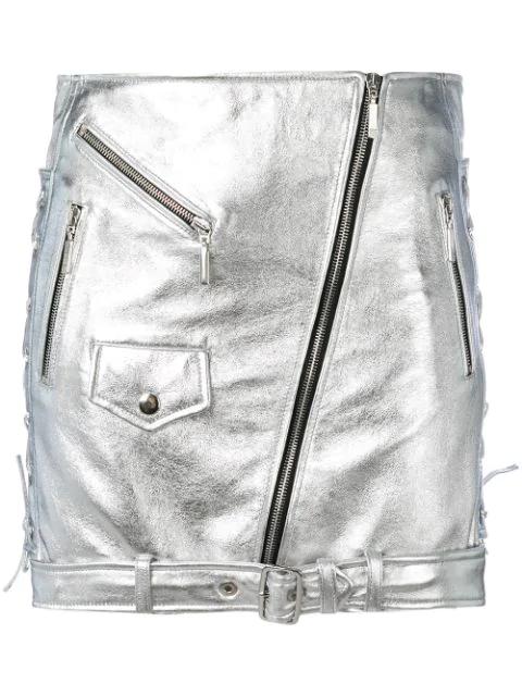 Manokhi Metallic Side Tie Detail Skirt In Grey