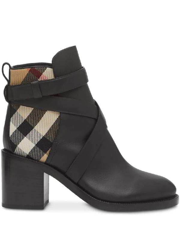 Burberry Women's House Check Almond-toe Block-heel Booties In Black