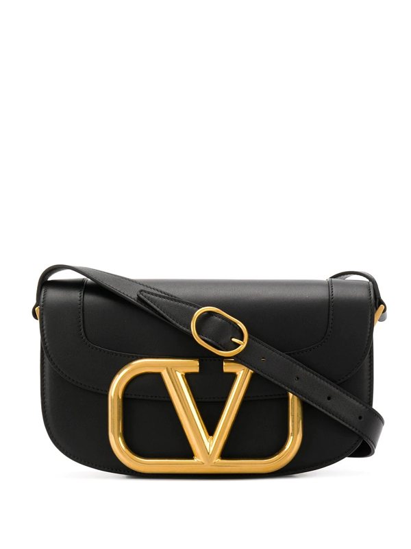 Valentino Garavani Garavani My Vlogo Black Leather Saddle Bag
