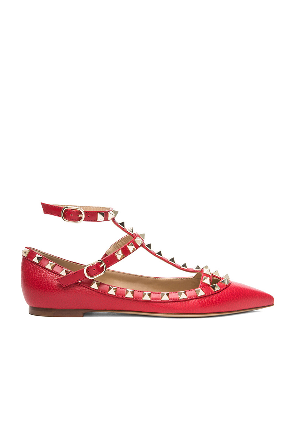 Valentino The Rockstud Embellished Metallic Leather Flats In Rosso