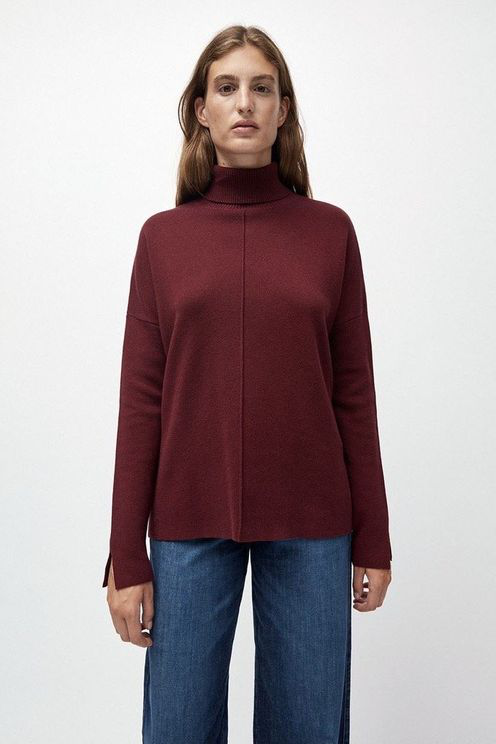 Armedangels Ayakaa Organic Cotton Knitted Jumper Port Wine In Burgundy