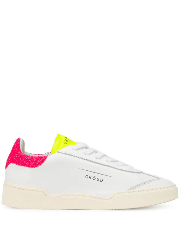 Ghoud Sneakers Fondo Cassetta Pelle/glitter Bianca/fuxia/gialla In White
