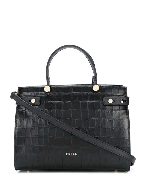 Furla Lady M Crocodile-embossed Tote Bag In Black