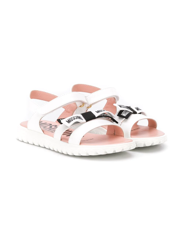 Moschino Teen Logo Bow Sandals In White