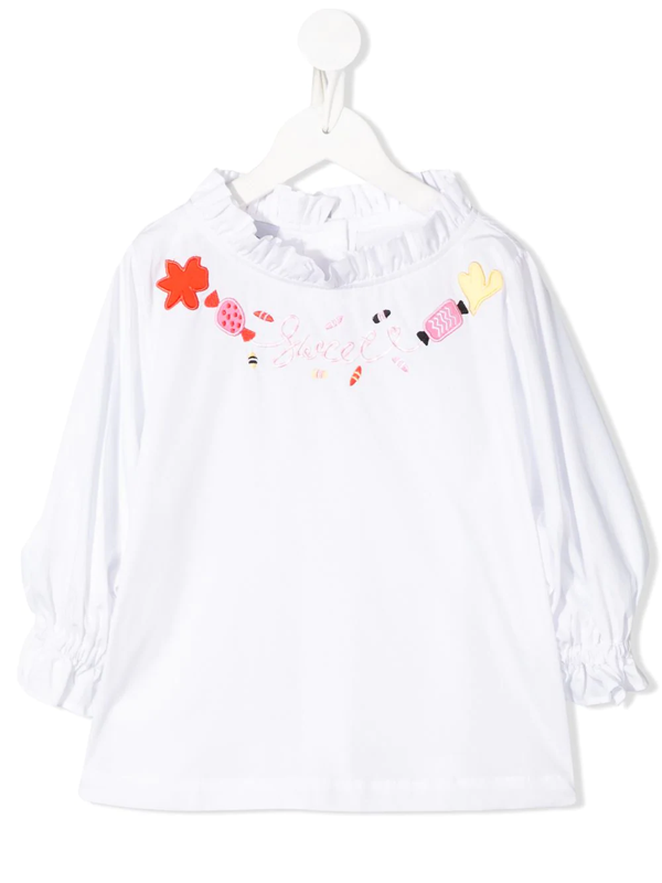 Raspberry Plum Teen Sugar Embroidered Blouse In White
