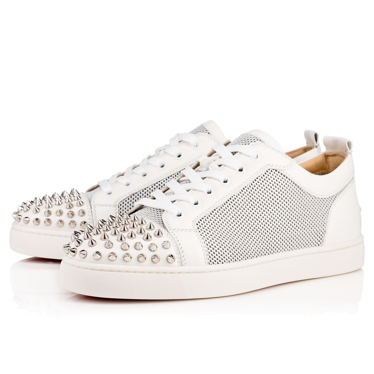 1614b4d606f Ac Louis Junior Spikes Flat Version Silver Leather - Men Shoes - Christian  Louboutin