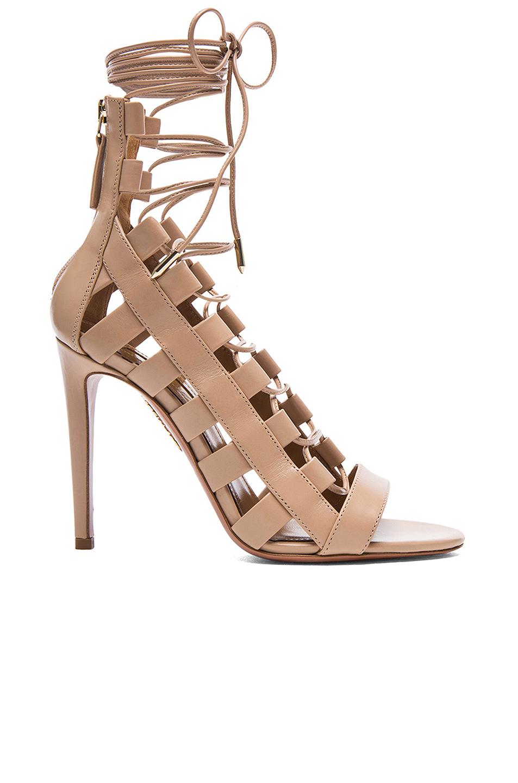 Aquazzura Amazon Leather Lace-Up Sandals In Neutrals