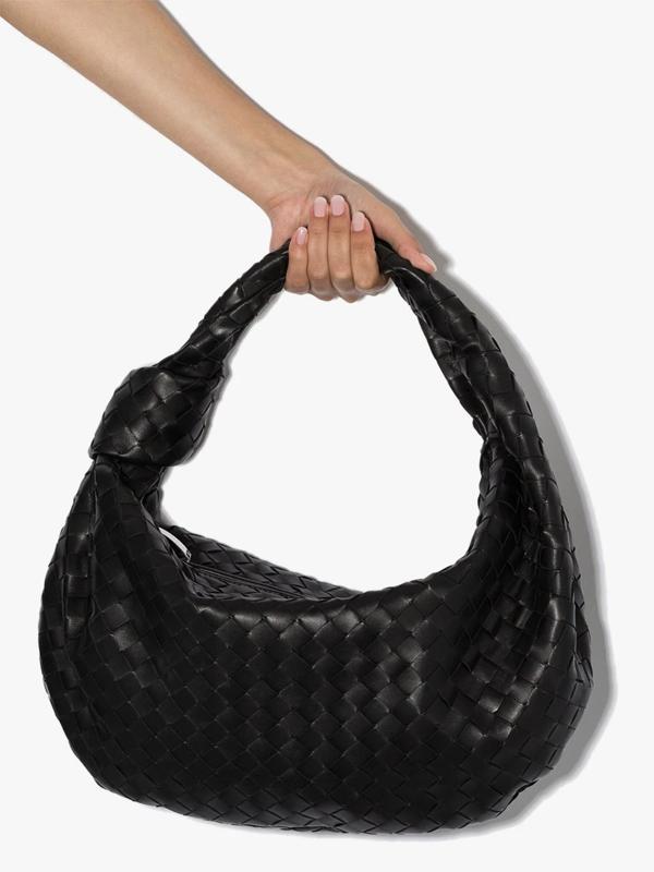 Bottega Veneta Rounded Mini Bv Jodie Hobo Bag In Woven
