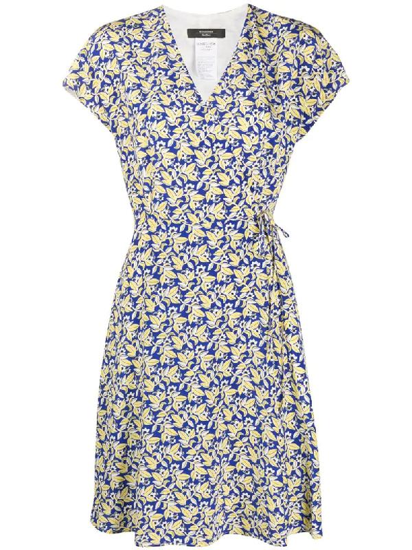 Weekend Max Mara Ondine Printed Silk Wrap Dress In Blue