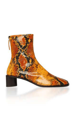 Acne Studios Bertine Logo Snake-effect Leather Boots In Neutral