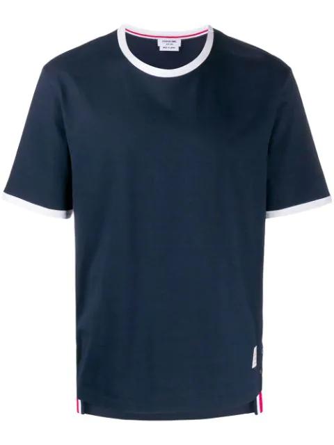 Thom Browne Tri-colour Step-hem Cotton T-shirt In Blue