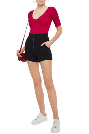 Enza Costa Zip-detailed Cotton And Cashmere-blend Jersey Shorts In Black