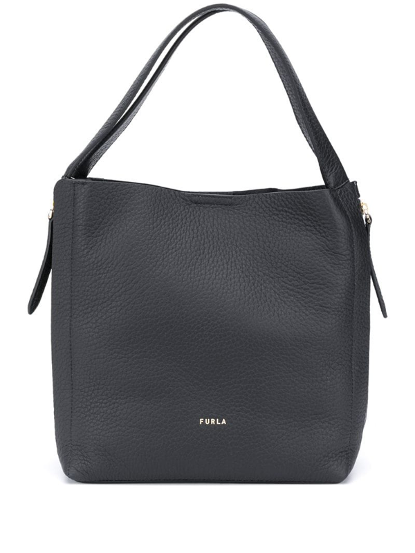 Furla Grace Pebbled Style Tote Bag In Black
