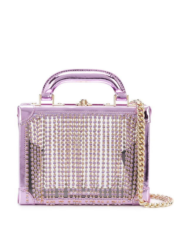 Area Ling Ling Crystal-embellished Metallic Leather And Pvc Tote In Lavender
