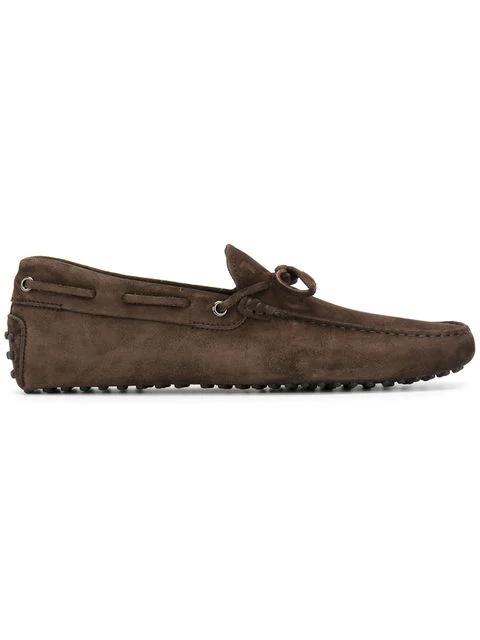 Tod's Men's Suede Loafers Moccasins Laccetto Occhielli Gommini In Brown