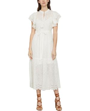 Bcbgmaxazria Eyelet Ruffled Cotton Midi Dress In Off White