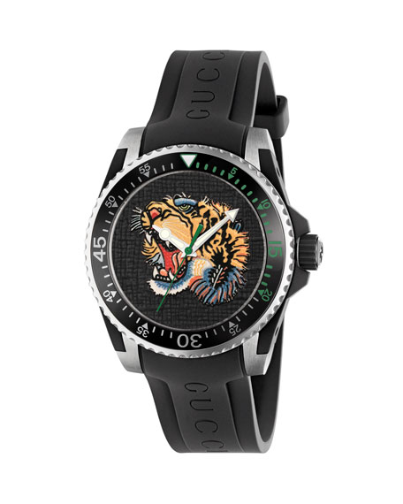 Gucci Dive Tiger-Dial 40Mm Stainless Steel And Rubber Watch In Black Multi