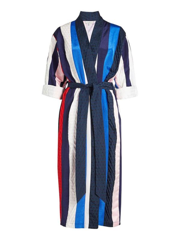 Natasha Zinko Jacquard Twill Belted Robe In Multicolor