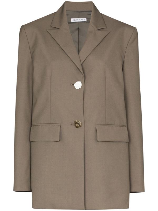 Rejina Pyo Bowen Camel Wool-blend Blazer In Gray