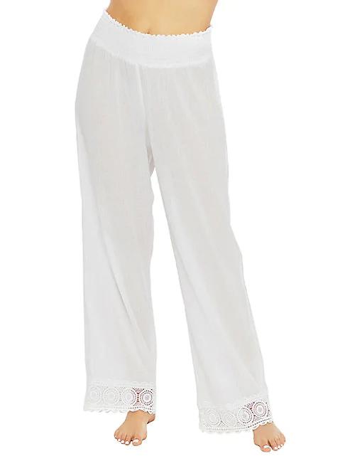 La Blanca Island Flare Cotton Coverup Pants In White