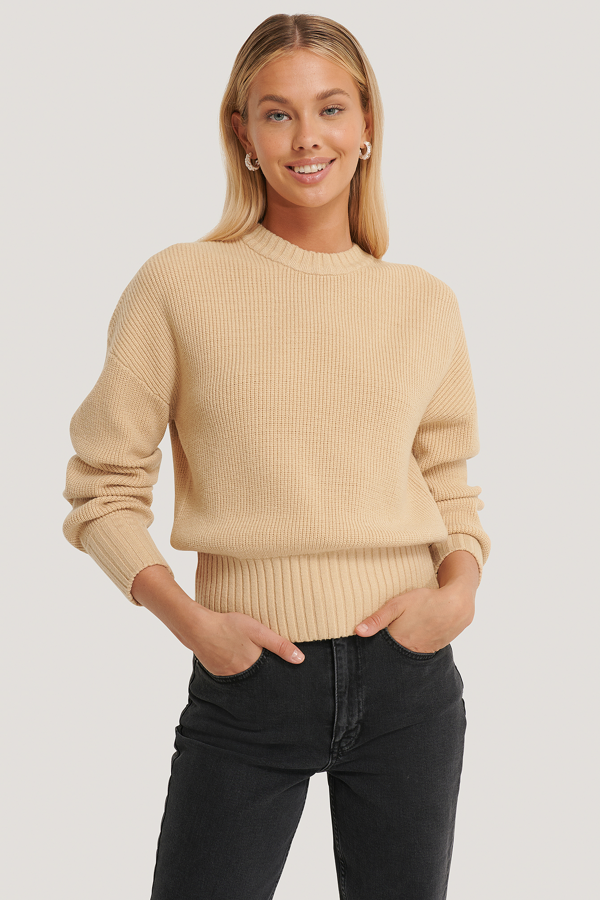 Afj X Na-kd Round Neck Knitted Sweater Beige