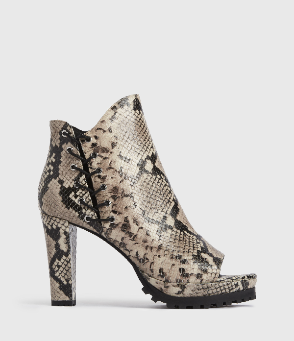 Allsaints Micaela Snake-embossed Suede Heeled Ankle Boots In Nude