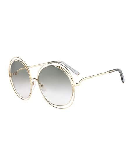 590970e1b ChloÉ Carlina Round Wire-Frame Sunglasses, Gold/Gray, Gold/Grey ...