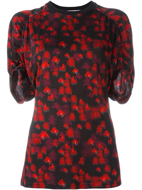Givenchy Flower Print Jersey Top In Red