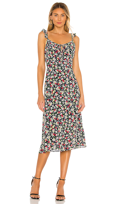 Cupcakes And Cashmere Hailey Floral Midi Dress In Ink