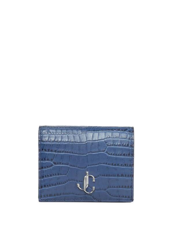 Jimmy Choo Hanne Denim Croc-embossed Leather Wallet With Jc Emblem In Blue